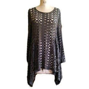 NWT olive net holey sweater tunic top